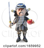 Mighty Japanese Samurai Warrior In 3d About To Cut An Apple With His Graceful Katana Sword by Steve Young