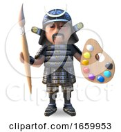 Poster, Art Print Of Cartoon Japanese Samurai Warrior Holding A Paintbrush And Palette