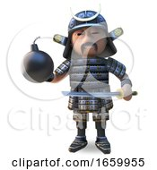 Honourable Japanese Samurai Warrion In Traditional Armour Holding A Katana Sword And Gunpowder Bomb by Steve Young