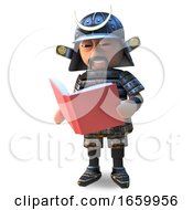 Clever Japanese Samurai Warrior In 3d Reading A Book by Steve Young