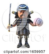 Cool Japanese Samurai Warrior In 3d Holding His Katana Sword And A Human Brain by Steve Young
