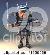 Noble Japanese Samurai Warrior With Katana Sword Goes Shopping With His Basket