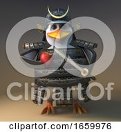 Mighty Japanese Samurai Warrior Penguin Peels His Apple Carefully With His Trusty Katana Blade