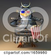 Poster, Art Print Of Heroic Japanese Samurai Penguin Warrior Eats Popcorn While Watching A 3d Movie