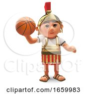 3d Cartoon Roman Centurion Soldier Playing With A Basketball by Steve Young