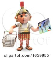 Cartoon 3d Roman Centurion Soldier Buys His Groceries With A Debit Card