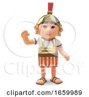 Friendly 3d Cartoon Roman Legionnaire Centurion Soldier Waves A Cheerful Hello by Steve Young