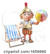 3d Cartoon Roman Legionnaire Soldier Relaxing On His Holiday With A Beach Ball And Deck Chair by Steve Young