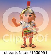 3d Roman Legionnaire Soldier In Armour Waving While Holding An Abacus