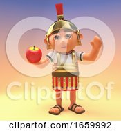 Armoured Roman Legionnaire Soldier Holding An Apple