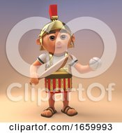Funny Roman Legionnare Soldier In Armour Holding A Baseball Bat And Ball