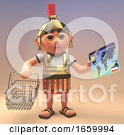 3d Roman Legionnaire Soldier In Armour Holding A Shopping Basket And Credit Card