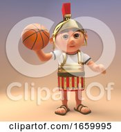 Sporty Cartoon Roman Legionnaire Soldier Holding A Basketball
