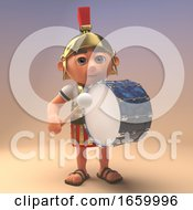 3d Roman Legionnaire Soldier In Armour Keeps The Marching Beat With A Bass Drum 3d Illustration