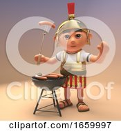 Hungry Roman Legionnaire Soldier In Armour Is Cooking Sausages On A Barbecue Bbq