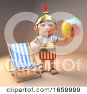 Fun Loving Roman Legionnaire Soldier In Armour Relaxing Playing With A Beach Ball Next To A Deck Chair