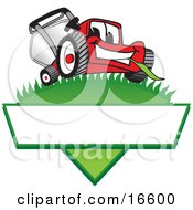 Clipart Picture Of A Red Lawn Mower Mascot Cartoon Character On A Grassy Hill On A Blank Label by Toons4Biz #COLLC16600-0015