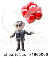 Cartoon Dracula Vampire Holding Many Blood Red Balloons