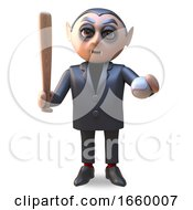 Cartoon 3d Vampire Dracula Holding A Baseball Bat And Ball