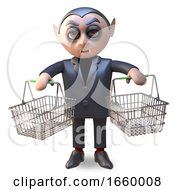3d Cartoon Halloween Vampire Dracula Holding Two Empty Shopping Baskets