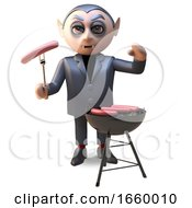 3d Cartoon Of A Hungry Hallowee Vampire Dracula Cooking On A Barbecue Bbq by Steve Young