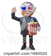 Poster, Art Print Of Cartoon Vampire Dracula Eating Popcorn While Watching A 3d Horror Movie