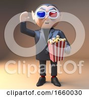 Poster, Art Print Of Enthralled Cartoon Vampire Dracula Eats Popcorn At The Movies Watching With 3d Glasses