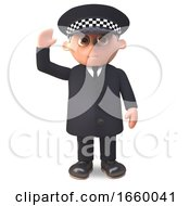 Friendly 3d Cartoon Police Officer In Uniform On Duty Waves With A Smile by Steve Young