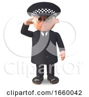 3d Cartoon Police Officer On Duty In Uniform Proceeds To Salute by Steve Young