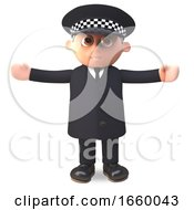 3d Police Officer In Uniform With Arms Outstretched by Steve Young