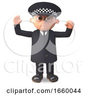 Cartoon 3d Police Officer On Duty In Uniform With Arms In Air Cheering by Steve Young