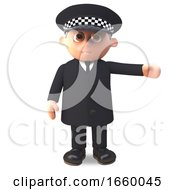 3d Cartoon Police Officer In Uniform Gestures With His Arm To The Left
