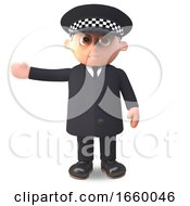 3d Cartoon Police Officer In Uniform Gesturing To The Right With His Arm