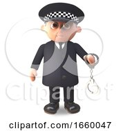Cartoon 3d Police Officer On Duty In Uniform Brandishes A Pair Of Handcuffs by Steve Young