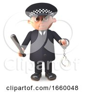 On Duty 3d Cartoon Police Officer In Uniform Brandishing Handcuffs And Truncheon