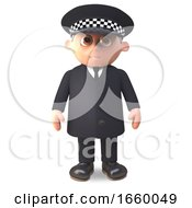 Cartoon 3d Police Officer On Duty In Uniform Stands Alert by Steve Young