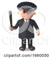 Cartoon 3d Police Officer On Duty In Uniform Holding A Truncheon