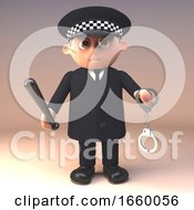 3d Police Officer In Uniform On Duty Holding A Pair Of Handcuffs And A Truncheon