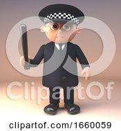 3d Cartoon Police Officer In Uniform On Duty With Baton Truncheon Drawn