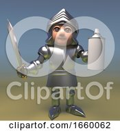 Armoured 3d Medieval Knight With Sword Holding An Aerosol Spray Can