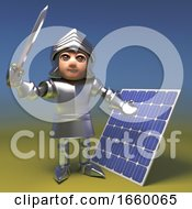 Poster, Art Print Of Cool 3d Cartoon Medieval Knight In Armour Waves His Sword By A Renewable Energy Solar Panel