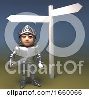 3d Cartoon Medieval Knight In Plate Armour Is Lost Looking At The Blank Signpost On His Quest