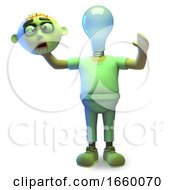 Cartoon 3d Halloween Zombie Monster Has A Lightbulb For A Head How Illuminating by Steve Young
