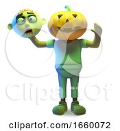 3d Cartoon Halloween Zombie Monster Has A Carved Pumpkin For A Head
