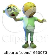 Cartoon Halloween Zombie Monster Has Been Decapitated And Has A Basketball For A Head