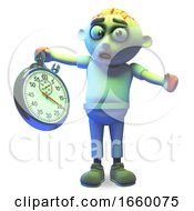 Cartoon Undead Zombie Monster Worries About Time With His Stopwatch by Steve Young