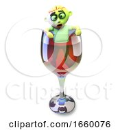 Drunk 3d Halloween Zombie Monster Climbs Out Of A Glass Of Red Wine by Steve Young