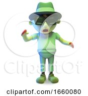 Hungover Undead Zombie Monster Wearing Sunglasses And Trilby Hat by Steve Young