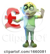 Funny Undead Zombie Monster Holding A UK Pounds Sterling Currency Symbol by Steve Young