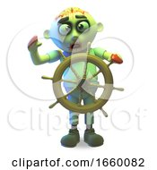 Seasick Undead Zombie Monster Is Steering His Ship To Calmer Waters by Steve Young